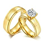 Aooaz Couples Rings Stainless Steel 2Pcs Gold Rings 6MM Cubic Zirconia White Women