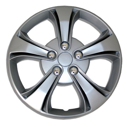 TuningPros WSC-616S15 Hubcaps Wheel Skin Cover 15-Inches Silver Set of 4 (Toyota Yaris 2009 Hubcap compare prices)