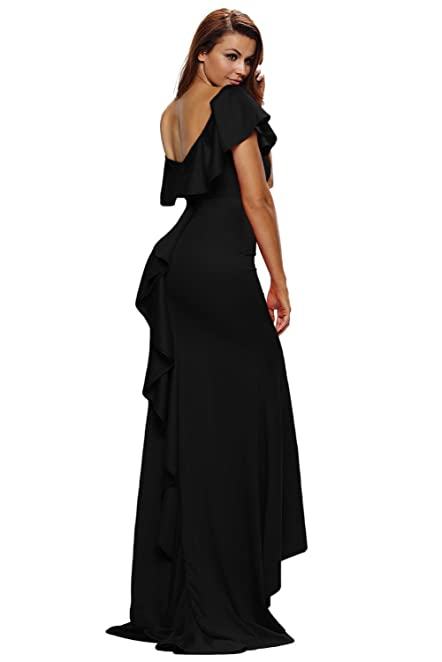 Black Memory Gorgeous Ruffle Accent Hot Black Party Gown at Amazon Womens Clothing store:
