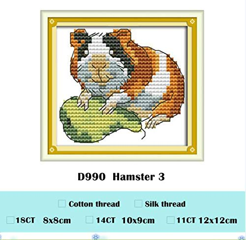 (Zamtac Hamster Cross Stitch kit animal18ct 14ct 11ct Count Print Stitching Embroidery DIY Handmade Needlework Plus - (Color: Transparent, Cross Stitch Fabric CT Number: 14ct unprint Canvas))