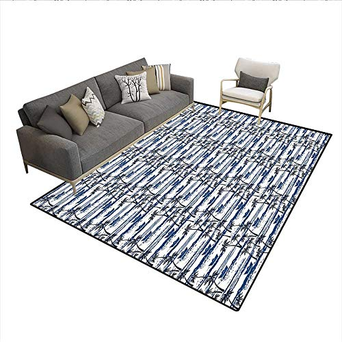 Caprice Cover Table Paper (Floor Mat,Hawaiian Pattern with Paper Boats on Worn Sea Waves Coastal Artwork,Area Carpet,Blue Dark Blue White 5'x8')