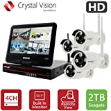 [4CH] Crystal Vision CVT9604E-3010W All-in-One True HD Wireless Surveillance System NVR CCTV w/ 2TB HDD, Built-in Monitor & Router, Camera Auto Pair