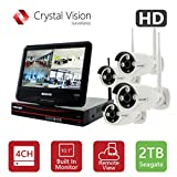 Crystal Vision CVT9604E/8E-3010W All-in-One TRUE HD Wireless Surveillance System NVR CCTV w/ 2TB HDD, Built-in Monitor & Router, Camera Auto Pair