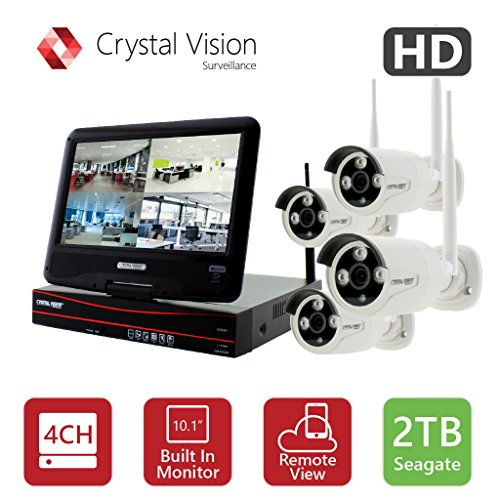 [4CH] Crystal Vision CVT9604E-3010W All-in-One TRUE HD Wireless Surveillance System NVR CCTV w/ 2TB HDD, Built-in Monitor & Router, Camera Auto Pair by Crystal Vision Technology