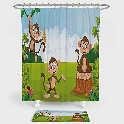 Nursery Shower Curtain And Floor Mat Combination Set Three Monkeys Playing in a Tropical Forest Banana Africa Safari Nature Decorative For decoration and daily use Pale Blue Brown Green