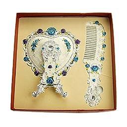 Ivenf Heart Shape Hand-Painted Royal Vintage Princess Metal Hand Mirror & Comb Set, Wedding / Anniversary / Christmas Gift, Silver Set