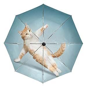 Ieararfre Paraguas Gato, Yoga, Paraguas Triple Pliegue, Resistente al Viento, Mango ergonómico