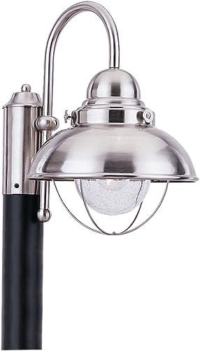 Sea Gull Lighting 8269-98 Sebring One Light Outdoor Post Lantern, Brushed Stainless