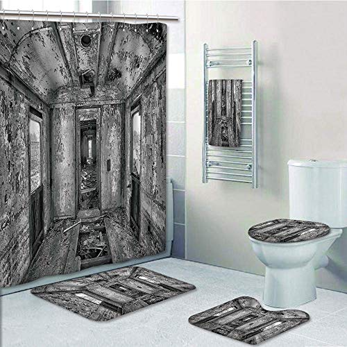 (Bathroom 5 Piece Set shower curtain 3d print Multi Style,Rustic Home Decor,Interior of an Antique Aged Railway Wagon Burnt Destruction Picture,Black and White,Bath Mat,Bathroom Carpet Rug,Non-Slip,Bat )