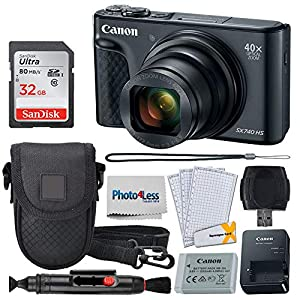Canon PowerShot SX740 HS Digital Camera + 32GB Memory Card + Point & Shoot Case + USB Card Reader + Lens Cleaning Pen + LCD Screen Protectors + Photo4Less Cleaning Cloth – Accessory Bundle