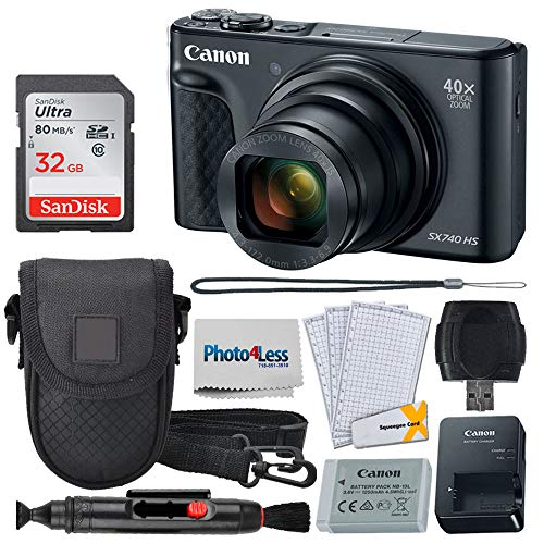 Canon PowerShot SX740 HS Digital Camera (Black) + 32GB Memory Card + Point & Shoot Case + USB Card Reader + Lens Cleaning Pen + LCD Screen Protectors + Photo4Less Cleaning Cloth – Accessory Bundle -