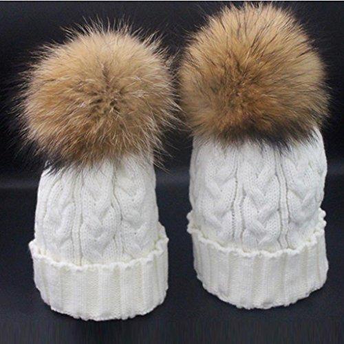 amp; Tricot Crochet Bébé Hiver Amlaiworld Casquettes Chauds Laine Fourrure Maman Blanc Chapeau fqwTRH