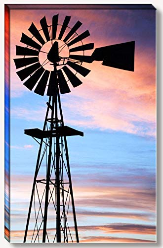 16 x 24 inch gallery wrapped canvas of vintage rustic farm windmill at country ranch at sunset.