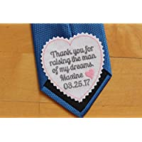 "Father of the Groom Tie Patch, tie label - 3"" wide, wedding gift for dad, Beautiful Monogrammed Tie Patches. Father of the Groom Gift from Bride, Embroidered wedding label, TLH16"