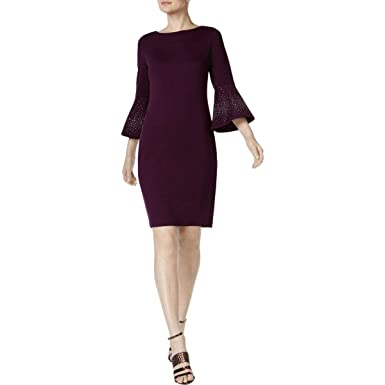 82a8668b Calvin Klein Women's Embellished Bell Sleeve Dress Black 10 at Amazon  Women's Clothing store: