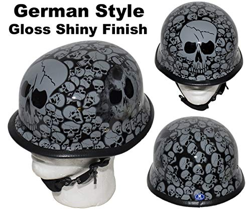 (DMD Trading Motorcycle German Style Low Profile Skull Cap Gloss Shiny Gray Skeletons Novelty Helmet W/Adjustable Chin Strap (M - (21.8