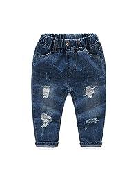 Little Baby Boys Girls Ripped Jeans Kids Boys Friend Style Denim Pants