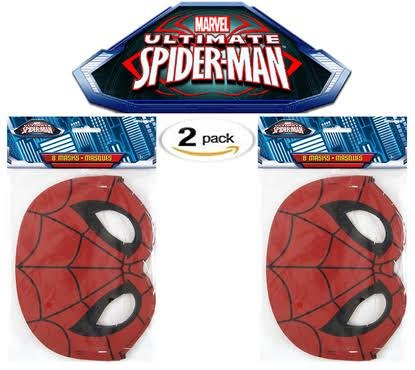 [Spiderman Party Mask, 8 ct (Two Pack)] (Amazing Spider Man Costumes 360)