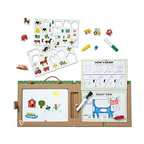 Melissa & Doug Natural Play: Play, Draw, Create Reusable Drawing & Magnet Kit - Farm (45 Magnets, 5 Dry-Erase Markers, Great Gift for Girls and Boys - Best for 3, 4, 5, 6, 7 and 8 Year Olds)