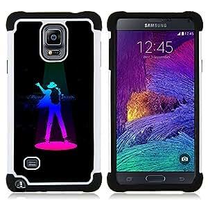 """Samsung Galaxy Note 4 IV / SM-N910 - 3 en 1 impreso colorido de Altas Prestaciones PC Funda chaqueta Negro cubierta gel silicona suave (Artista"""")"""