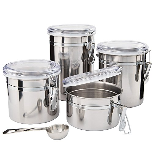 Kitchen Canisters Stainless Steel - Beautiful Canister Sets for Kitchen Counter, 4-Piece Small with Airtight Lids and Measuring Spoon - Tea Coffee Sugar Canisters by SilverOnyx - 4pc Clamp Lids Onyx Storage Set