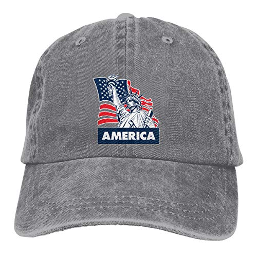 (Classic Baseball Cap Statue of Liberty American Flag Unisex Cotton Made Adjustable Low Profile Baseball Hat Gray)