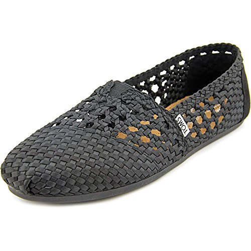 e5b1e7bbaa5d Galleon - TOMS Womens Woven Classics Slip On Alpargata Flat Shoe, Black  Satin, US 8