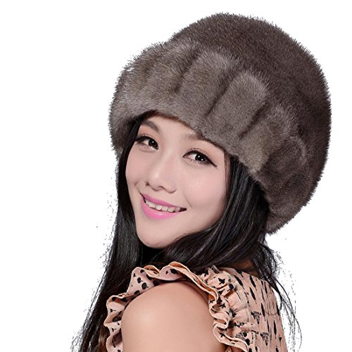 Women's Mink Fur Roller Hat (One Size, Gray) by Starway0311