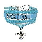 Youth Basketball Bracelet Jewelry - HHHbeauty Cute Basketball Charm Bracelet Friendship Gift For Women,Girls,Men,Boys,Teens Including Fantastics Infinity Love Charm, Letters, Basketball Charm (Blue)