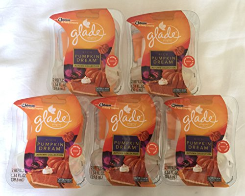 10 Glade Plugins Scented Oil Air Freshener Refill, Rich Pumpkin Dreams, 5 twin packs by Glade
