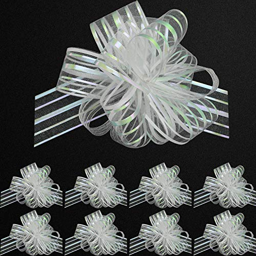 - 20 Pieces Pull Bow Organza White Large 6 Inches Pull String Bows for Wedding Christmas Easter Gifts