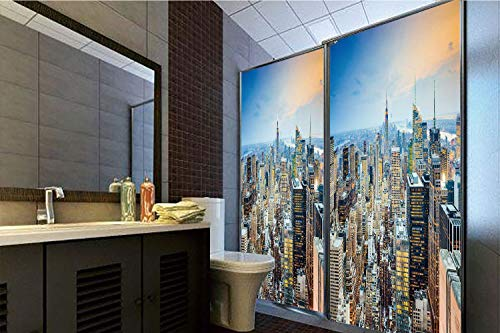 """Horrisophie dodo No Glue Static Cling Glass Sticker,American,New York City Aerial with Skyscrapers Manhattan Urban Architecture Panorama,Silver Blue Peach,39.37"""" H x 23.62"""" W for Home&Office"""