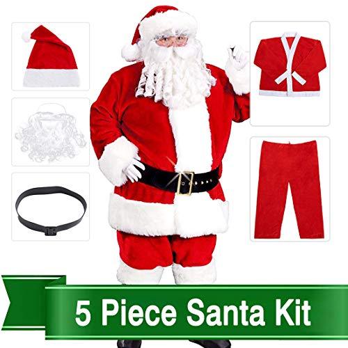 Christmas Santa Claus Costumes Plush Boy's Pub Flannel Crawl Santa Suit Xmas Suit -