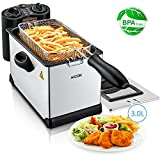 Deep Fryer with Basket, Aicok Stainless Steel Electric Oil Deep Fryer Machine with Adjustable Temperature & Timer, Easy to Clean, Perfect for Fries, Chicken, Shrimp, Fully Removable, 3 Liter, 1700W