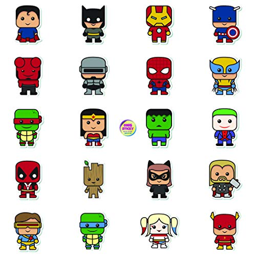 Premium Superhero Stickers and Decals 40 pc per Pack Exclusively for Kids and Adult Superhero Fans by OMG Sticky