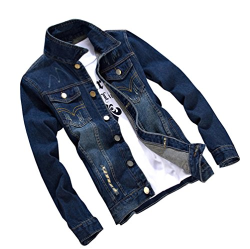 Jeans 6 Fit A Manica Uomo Slim Jacket Lunga Cappotto Giacca Denim Di Biker qx7FTIw