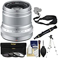 Fujifilm 50mm f/2.0 XF R WR Lens (Silver) with 3 UV/CPL/ND8 Filters + Tripod + Strap + Kit