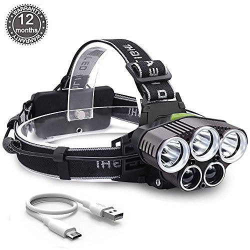 CM-Light Led Headlamp Rechargeable Waterproof Head Lamp Super Bright Hands Free 8000 Lumens 6 Modes for Camping Trip Hiking Hunting Fishing Cycling Running Outdoor Adventure