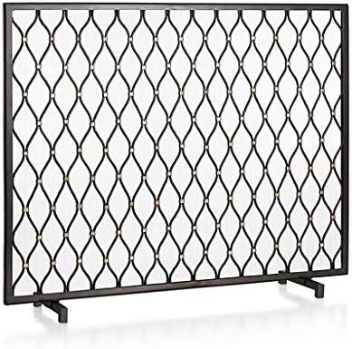 暖炉スクリーン アメリカのシンプルな錬鉄暖炉のドア新ブラック装飾フロアパーティションスクリーンリビングルームホームアイアンフェンス 暖炉用パネル