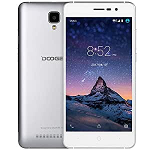 """DOOGEE X10, Unlocked Cell Phones - Dual Sim Smartphone With 5.0"""" IPS Display - Android 6.0 - 8GB ROM - 2MP+5MP Dual Camera - 3360mAh Battery - GSM Unlocked Phone International - Silver(no ads)"""