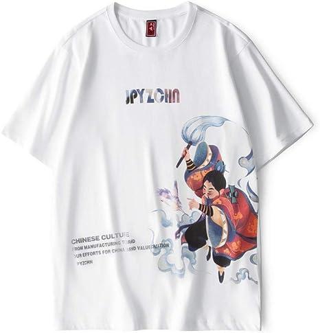 QQW Camiseta De Manga Cortacamiseta De Manga Corta Estampada Personalidad Masculina Marea Nacional Retro Pareja De Media Manga Suelta-XXXL: Amazon.es: Hogar