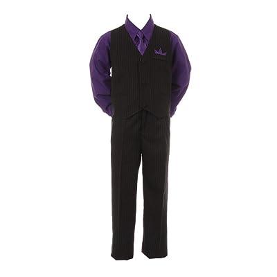 Shanil Baby Boys Purple Shirt Necktie Black Pinstripe Pants Vest 4 Pc Suit 6-24M