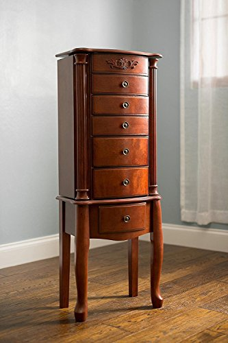 Hives & Honey Amber 6-Drawer Auburn Walnut Jewelry Armoire