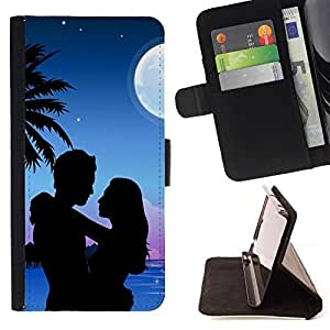 Momo Phone Case / Flip Funda de Cuero Case Cover - Luna Pareja Amor Romance Beach Palmera - Huawei Ascend P8 Lite (Not for Normal P8)