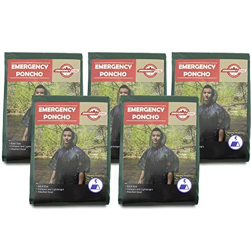 : Emergency Zone Emergency Poncho 5 Pack, Emergency Rain Gear, Weather Protection, Brand