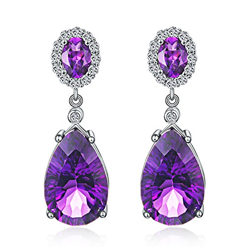 Aurora Tears Lady Elegant Created-Amethyst Purple Crystal Teardrops Dangler Earrings Eardrop DE0008P (Amethyst Purple Crystal Dark)