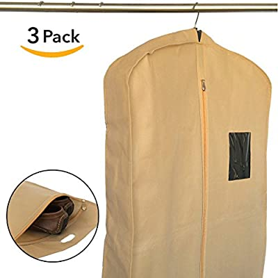 Set of 3 Breathable Garment Bags for Clothes Storage, Travel - Suit Bag Cover for Men by Home Haven