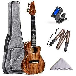 Deviser Concert Ukulele 23inch Cutaway Thin Body Travel Ukelele kit Solid KOA Top KOA Back & Side Carbon nylon Strings…