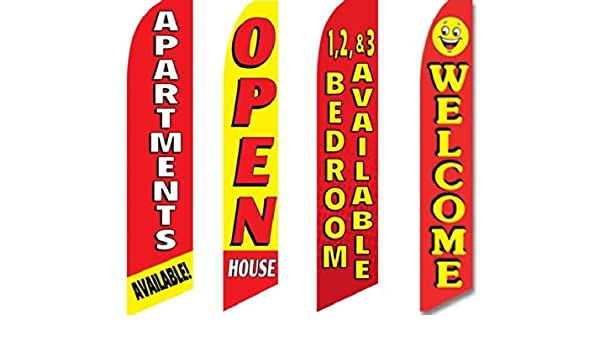 Four Full Sleeve Swooper Flags w// Poles /& Spikes NOW RENTING Light Blue Yellow Red Stars