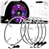 LED Wheel Lights 15.5' 4 Wheel Set Color Chasing Moving Wireless by App for Cars Trucks